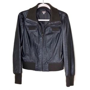 HALOGEN. Brown Lambskin Leather Bomber Jacket